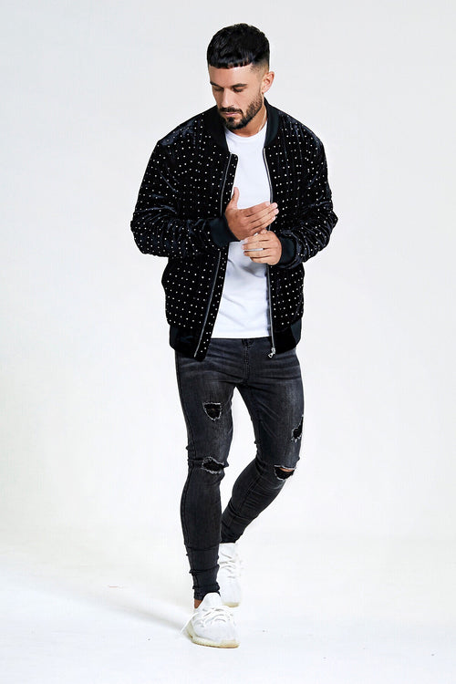 EMBELLISHED STUDDED BOMBER JACKET - BLACK