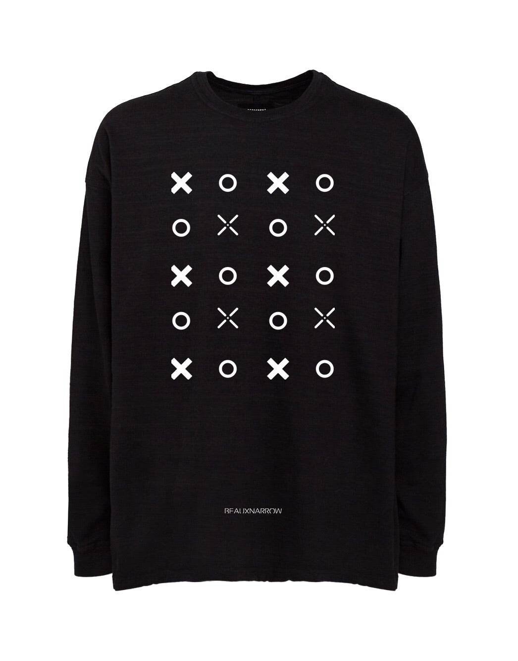 OVERSIZED XO LONG SLEEVE SLUB T-SHIRT - BLACK