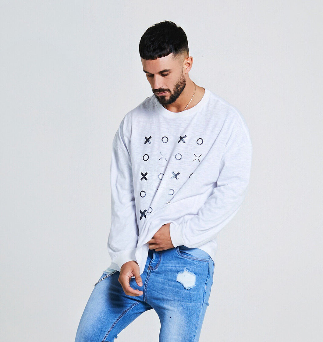 OVERSIZED XO LONG SLEEVE SLUB T-SHIRT - WHITE