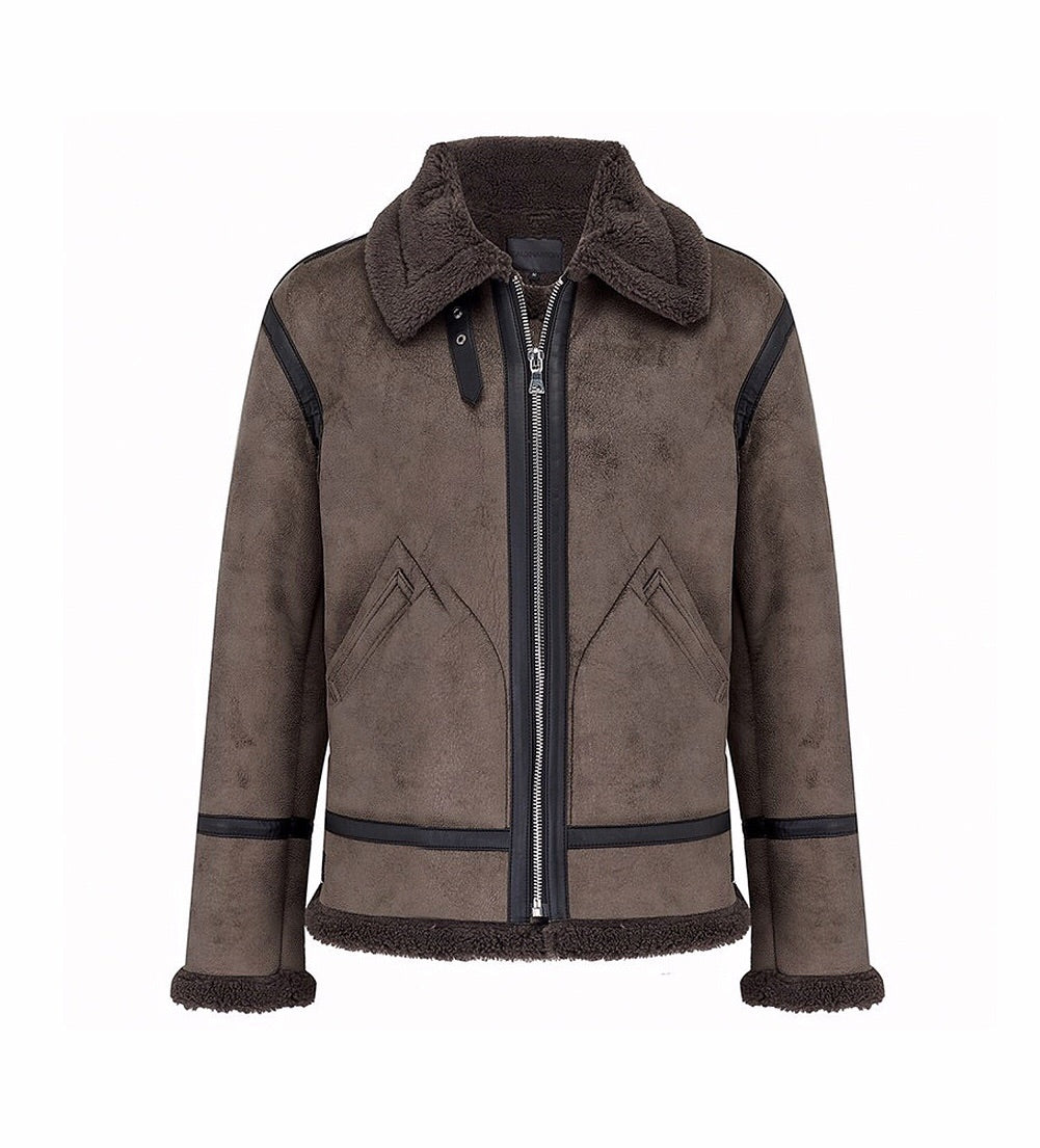 SHEARLING SUEDE JACKET WITH TAPING - GREY