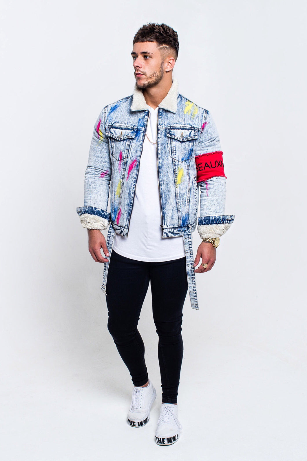 SHEARLING LINED TRUCKER DENIM JACKET WITH RED ARMBAND - ICE BLUE