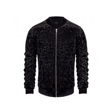 SIGNATURE VELOUR BOMBER JACKET - BLACK