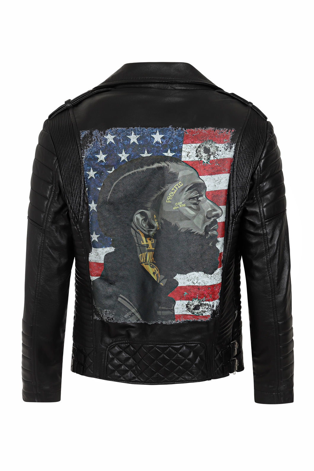 NIPSEY HUSSLE LEATHER JACKET - BLACK