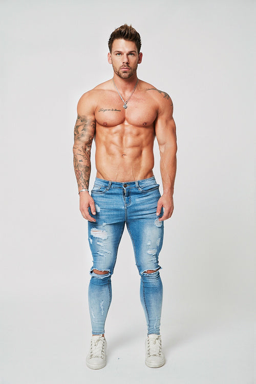 SUPER SKINNY RIPPED-REPAIRED JEANS - GRADIENT FADE LIGHT BLUE