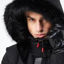 CLASSIC PACKA WITH BLACK FUR TRIM HOOD  - BLACK