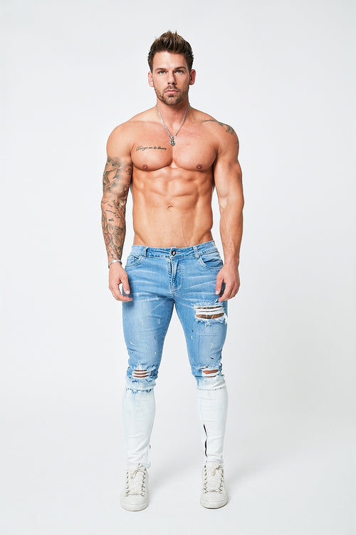 SUPER SKINNY RIPPED-REPAIRED JEANS - LIGHT BLUE/SNOW FADE