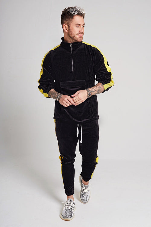 VELOUR PANEL TRACKSUIT SET - BLACK/YELLOW