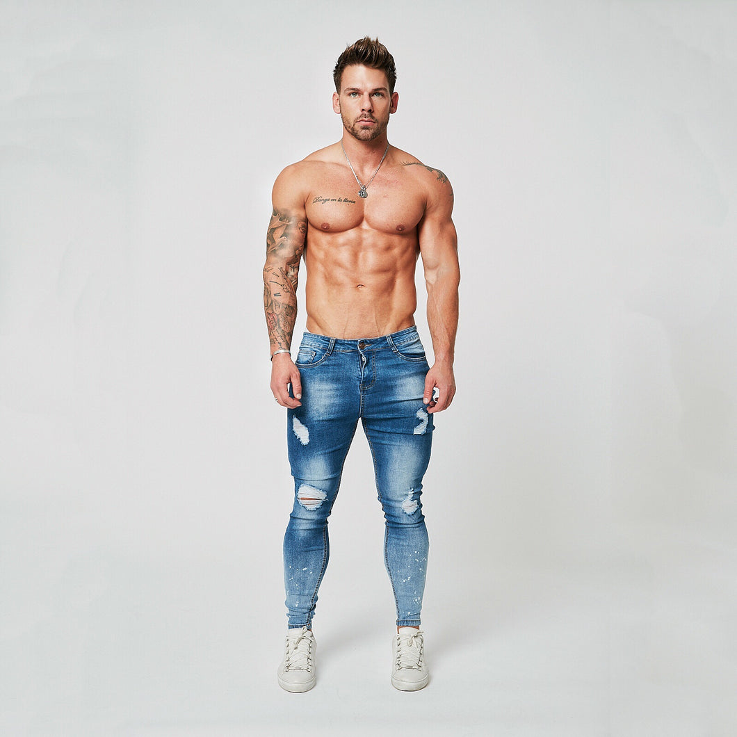 SUPER SKINNY RIPPED-REPAIRED JEANS - GRADIENT FADE DARK BLUE/PAINT SPRAYED