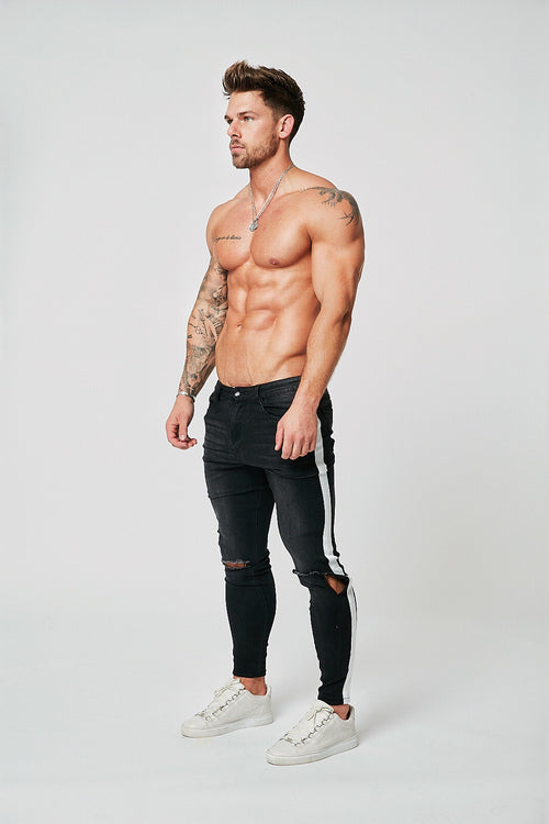 SKINNY FIT RIPPED JEANS - GREY/WHITE STRIPE