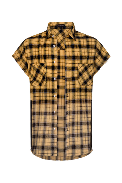 OVERSIZED PLAID SLEEVELESS SHIRT - YELLOW/BLACK