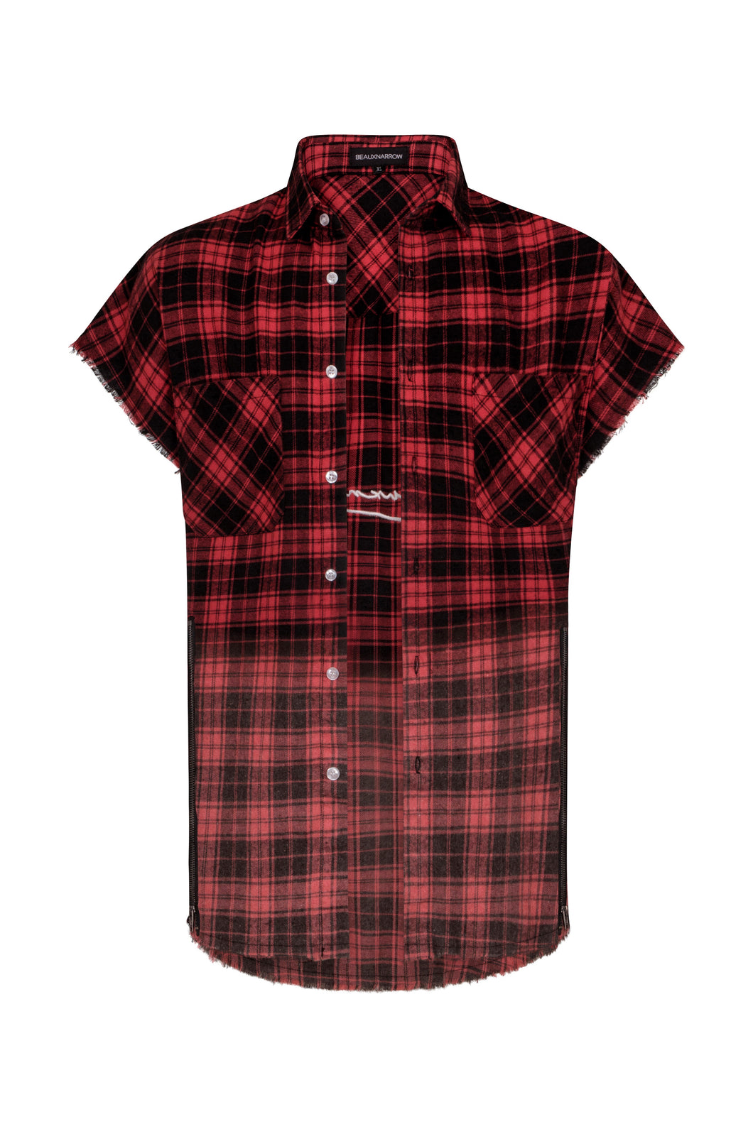 OVERSIZED PLAID SLEEVELESS SHIRT - RED/BLACK