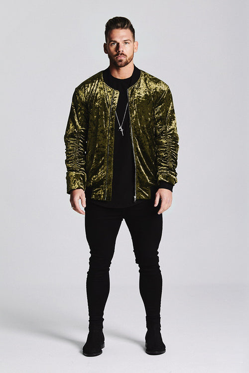 SIGNATURE VELOUR BOMBER JACKET - OLIVE