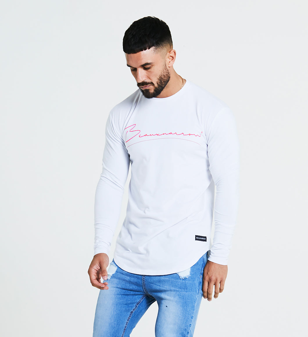 BEAUXNARROW SIGNATURE LOGO L/S T-SHIRT - WHITE/RED