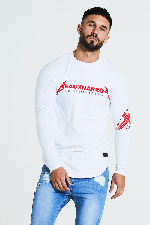 TOUR L/S T-SHIRT - WHITE/RED