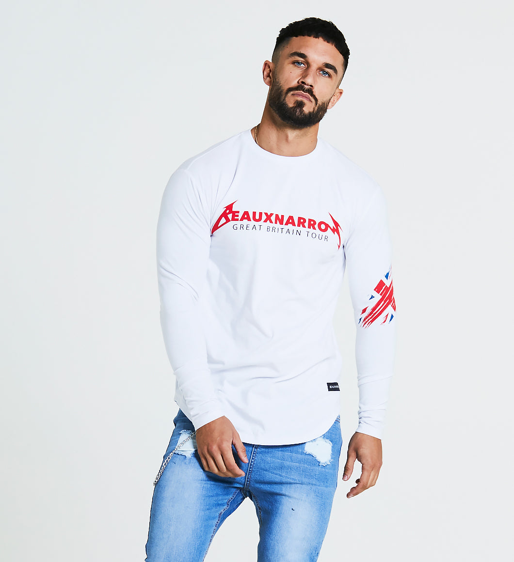 BEAUXNARROW TOUR LOGO L/S T-SHIRT - WHITE/RED