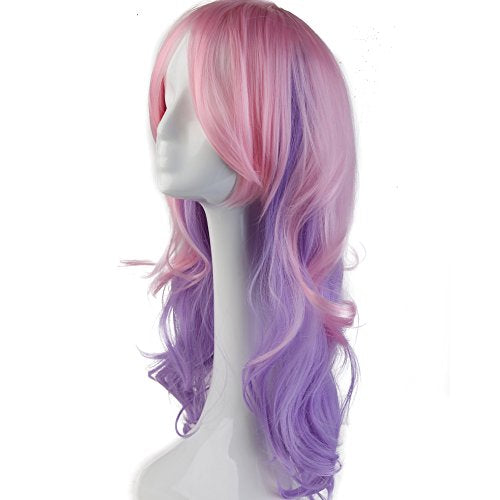 Anime Cosplay Wigs Layered Ombre 24 Inch Long Wavy with Bangs Full Wigs for Women Ladies Costume 6 Styles Pink Purple