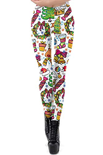 color cosplayer Women Christmas Leggings Ultra Soft 3D Design Printing Xmas Super Soft Pants