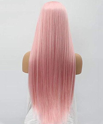 SeraphicWig Fashion Pink Front Lace Wigs Long Straight Synthetic Hair Wig for White Women Heat Resistant Fiber Hair Half Hand Made 24 inches