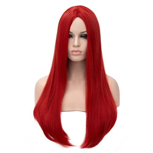 Mersi Long Red Wigs for Women Straight Cosplay Costume Wigs Synthetic Hair Wig 27 Inch with Wig Cap S034R