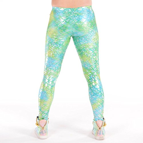 Revolver Fashion Lemon Lime Merman Meggings - Holographic Mermaid Men's Leggings: USA Made (Lemon Lime Tie Dye Mermaid, Small)