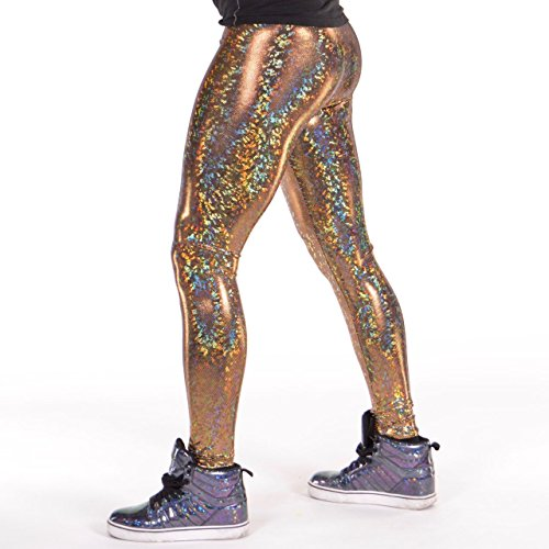 Revolver Fashion Disco Ball Holographic Men's Leggings Music Festival Clothing (Gold, Small)