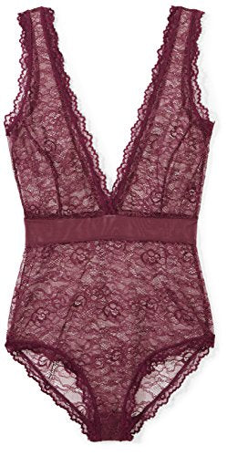 Mae Women's Eyelash Lace Bodysuit, Plum, X-Small