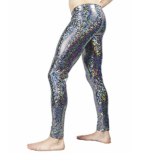 Revolver Fashion Disco Ball Holographic Men's Leggings Music Festival Clothing (Silver, Small)