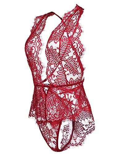Avidlove Women One Piece Lingerie Lace Bodysuit Deep V Teddy Mini Babydoll Dark Red Small