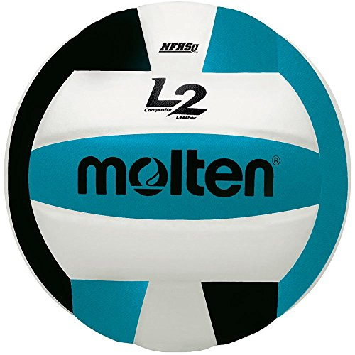Molten Premium Competition L2 Volleyball, NFHS Approved, Black/Aqua/White, Official