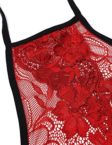 Avidlove Women Bodysuit Lingerie Deep V Halter Lace One Piece Teddy