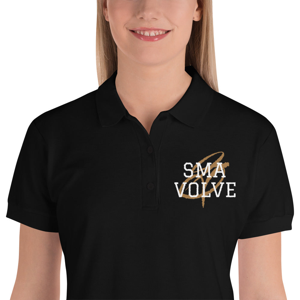 SMAVOLVE Black Embroidered Women's Polo Shirt