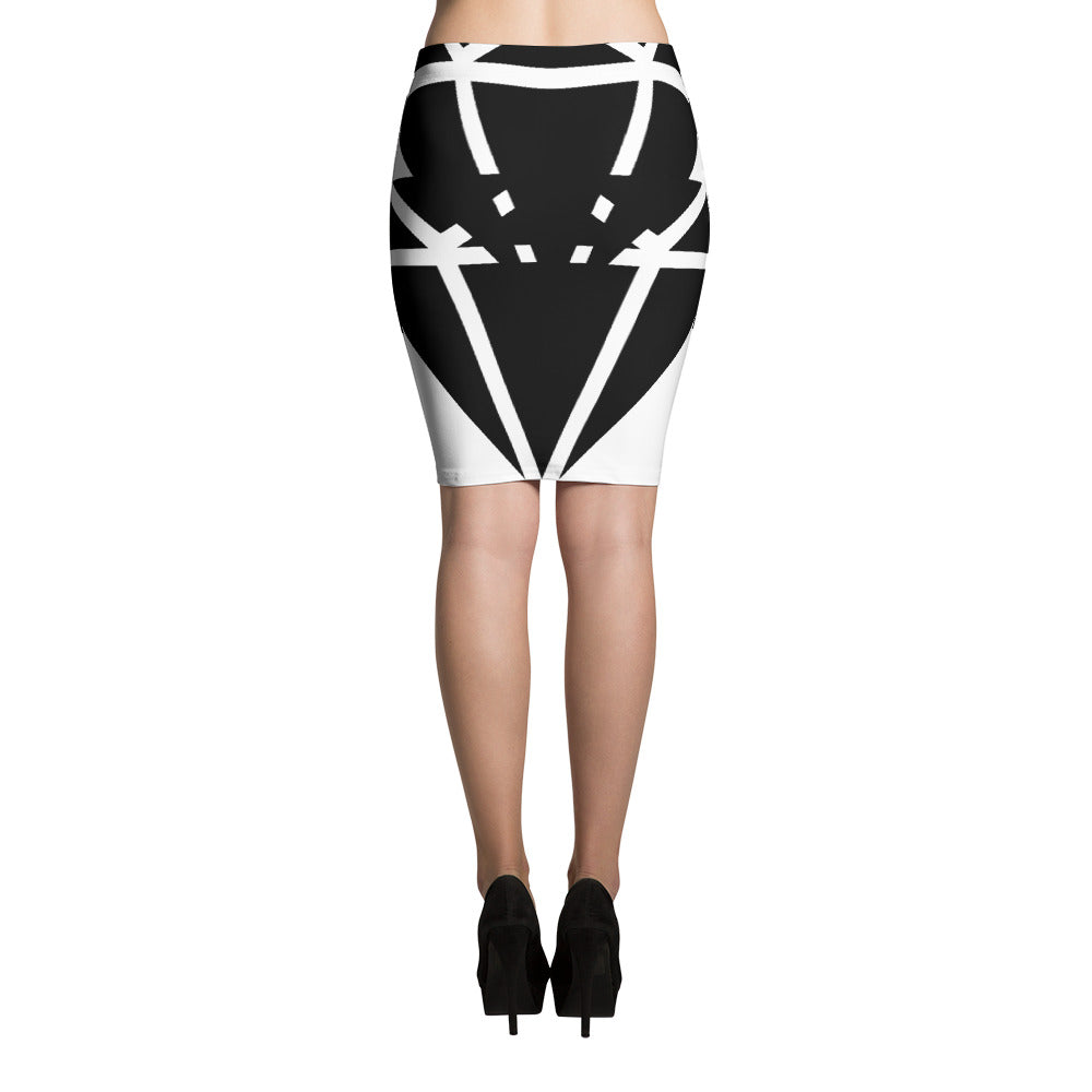 Diamond Black Bold - Pencil Skirt