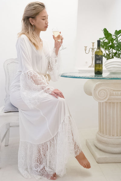 Dressing Gown with Lace Trimming