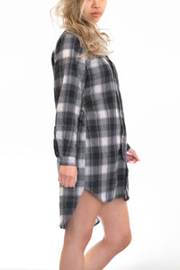 Flannel Button up Dress