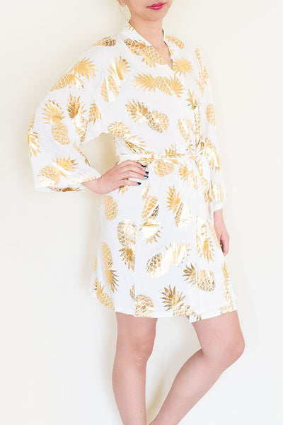Kids Metallic Gold Pineapple Robe