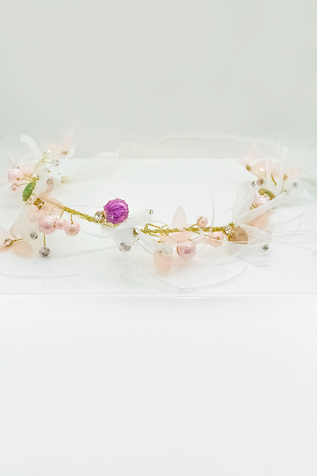 Seaside Feather Crown with pink pearls and Adjustable ribbon back