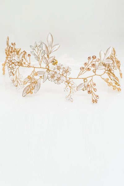 Romantic Gold Alloy Flower Crown with Rhinestones and adjustable Ribbon back