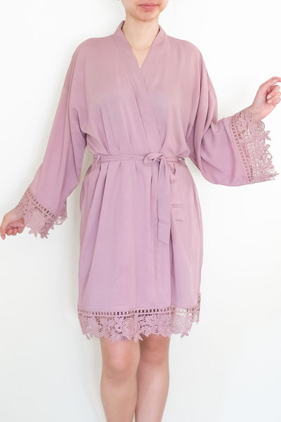 Rayon Robe with Flower Lace Trimming