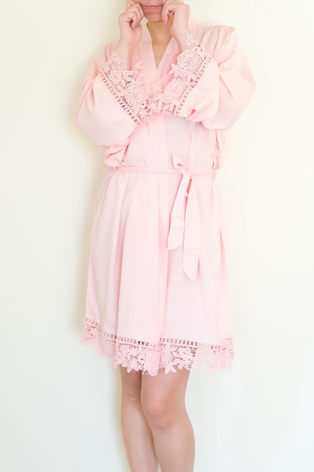 Kids Rayon Robe with Lace Trimming