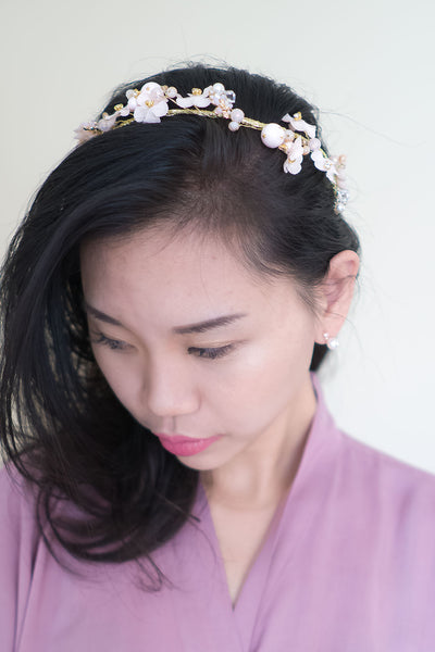 Beautiful Cherry Blossom Flower Crown with Adjustable Ribbon back