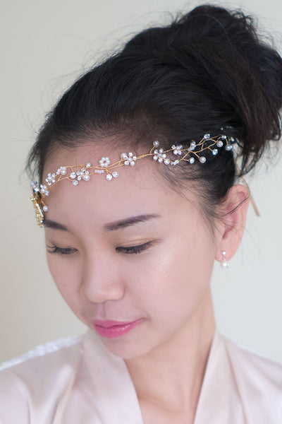 Whimsical Bridesmaid Gold Metal Flower Crown w/ Adjustable Ribbon Back