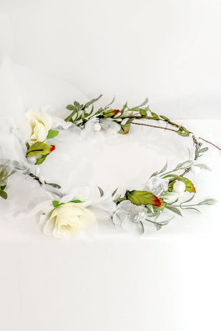 Rustic Garden Bridal Flower Crown w/ Veil