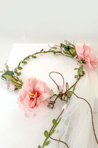 Whimsical Garden Peach Flower Crown w/ Veil and adjustable back