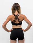 Strappy Back Sports Bra Midnight Black - ICE Cannabis Athletica