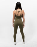 Hollow Out Sports Bra Army Green - ICE Cannabis Athletica