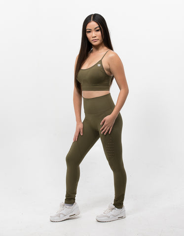 Hollow Out Leggings Army Green - ICE Cannabis Athletica