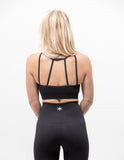 Hollow Out Sports Bra Midnight Black - ICE Cannabis Athletica