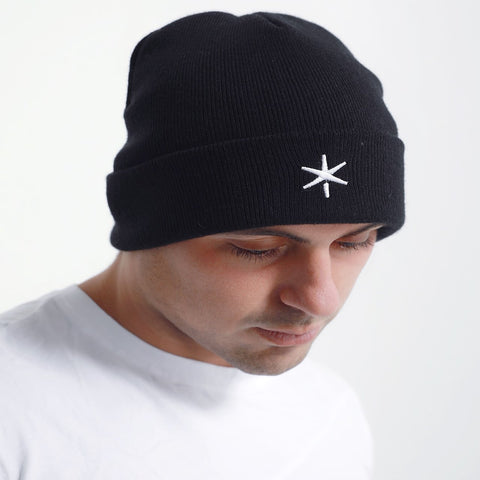 ICE Cuffed Beanie Midnight Black - ICE Cannabis Athletica