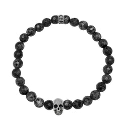 KERMAR Black Labrad Bracelet  6mm with skull (KM-0016)