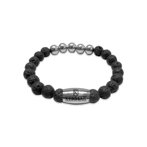 KERMAR Black Lavarock 8MM Bracelet with Stainless Steel 9MM Accents/ Clasp (KM-0018)